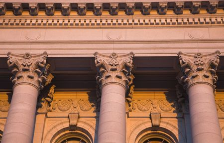 Columns - State Capitol of Wisconsin in Madison in warm light. Stock Photo - 6674994