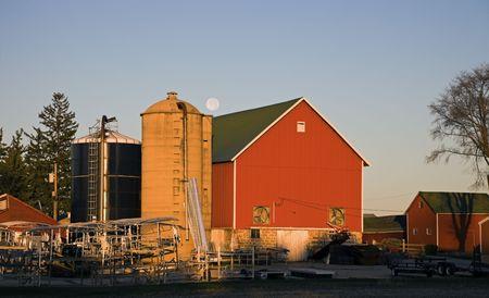 nebraska: Farm Buildings and Full Moon - Nebraska.