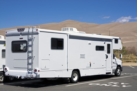 Luxury RV in Great Sand Dunes National Park in Colorado. photo