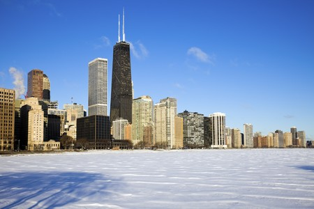 Gold Coast winter time - seen accross frozen Lake Michigan. Zdjęcie Seryjne