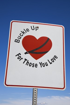 buckle: Buckle Up! - road sign seen in Kentucky. Stock Photo