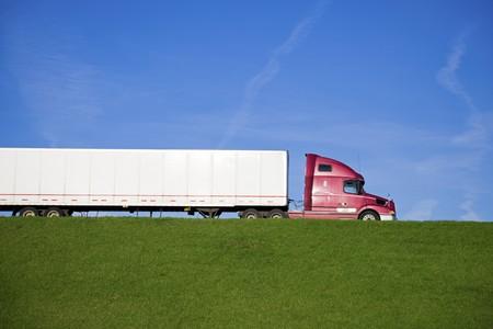 Semi Truck on the road   Stock Photo