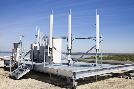 Cellular equipment on platform installed on the roof Stock Photo - 7078232