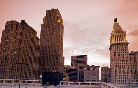 Architecture of Cincinnati, Ohio. Taken in the morning with tobacco graduated filter. photo