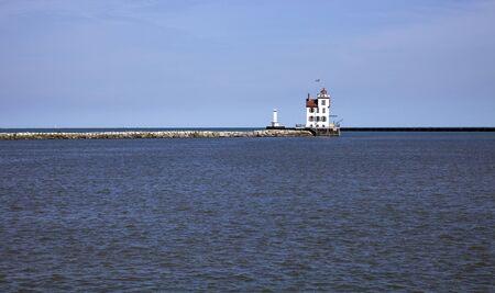 Distant view of Lorain Lighthouse Banco de Imagens