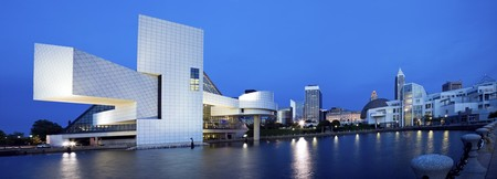 Blue panorama of Cleveland, Ohio. Stock Photo