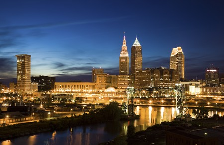 Night in downtown Cleveland, Ohio. Stock Photo