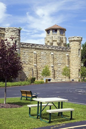 Benches in front of Historic Jail in Joliet, Illinois - suburb of Chicago. Stock Photo - 7493411
