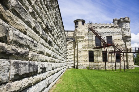 jail: Walls of historic Jail in Joliet, Illinois - suburb of Chicago. Stock Photo