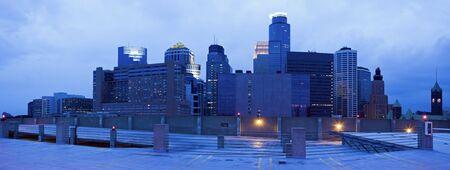 Blue panorama of Minneapolis, Minnesota. Stock Photo - 7489005