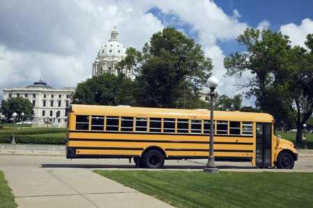 School Bus in front of State Capitol in St. Paul. photo