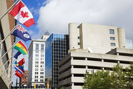 rapids: National flags in downtown of Grand Rapids, Michigan.
