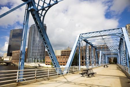 rapids: Blue bridge in Grand Rapids, Michigan, USA. Stock Photo