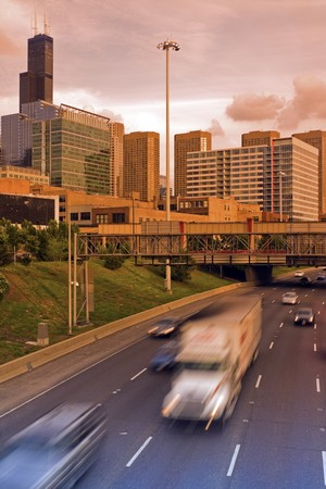 Evening traffic in Chicago, Illinois, USA. Stock Photo - 7537936