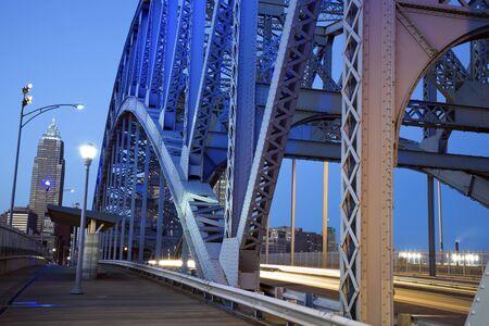 Traffic on the bridge in Cleveland, Ohio. photo