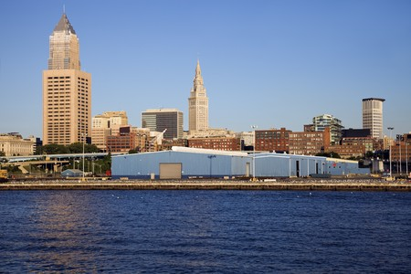 erie: CLeveland buiildings seen from Lake Erie