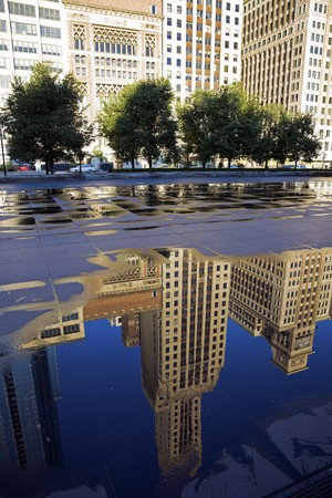 michigan avenue: Reflection of Michigan Avenue buildings  in Chicago, IL. Stock Photo