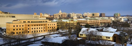 madison: Panoramic view of Madison, Wisconsin, USA. Winter time.