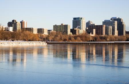 michigan snow: Winter morning by the lake. Milwaukee, Wisconsin, USA.