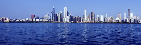lake michigan: Chicago - Panoramic view from Lake Michigan Stock Photo