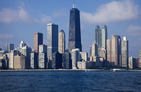 hancock: Downtown Chicago seen from the Lake - morning time. Stock Photo