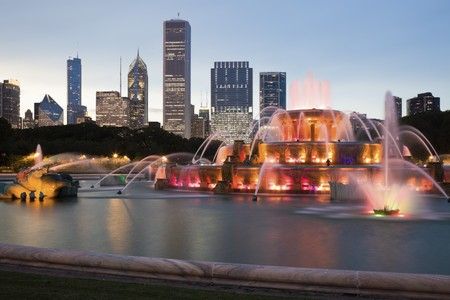 Buckingham Fountain in downtown of Chicago, Il. photo