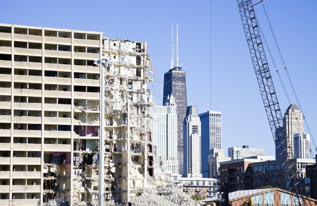 Demolition of project building - downtown of Chicago.