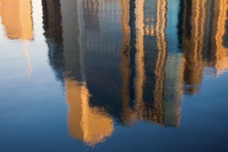 aon: Morning reflection on Chicago buildings - seen in the marina. No filters used. Stock Photo