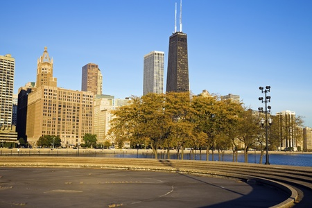Autumn in Chicago - Gold Coast buildings photo