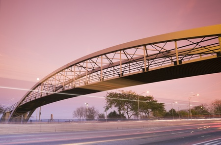 lake shore drive: Traffic on Lake Shore Drive and the pedestrian bridge. Taken during sunset with tobacco filter.