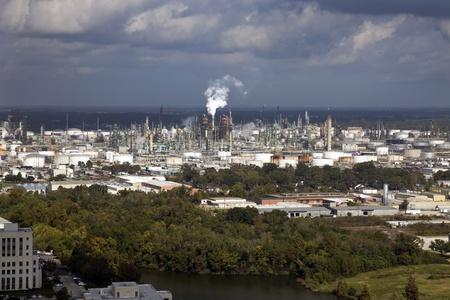Industrial area of Baton Rouge, Louisiana. Oil refinery, chemical plants Stockfoto