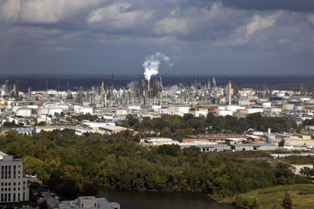 Industrial area of Baton Rouge, Louisiana. Oil refinery, chemical plants Stock Photo