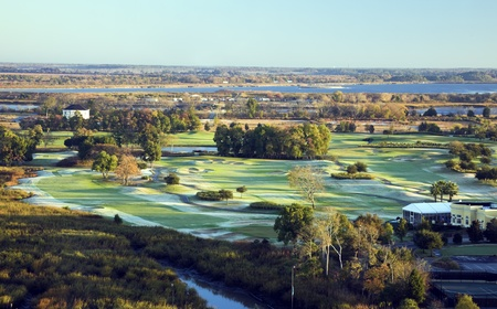 late fall: Aerial view of golf course. Late fall morning. Savannah, Georgia.