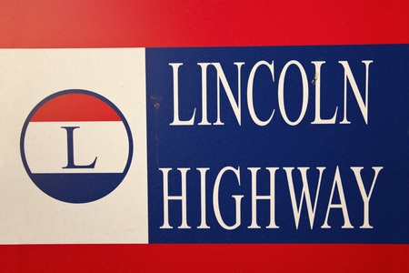 highway road: Lincoln Highway road sign Stock Photo