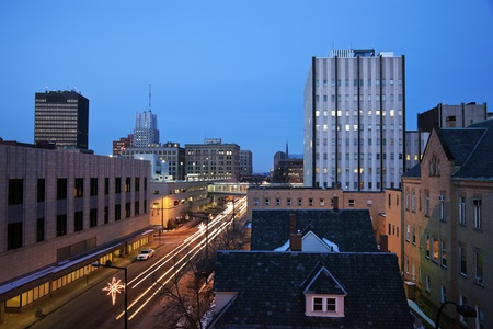 Night in Akron, Ohio Stock Photo