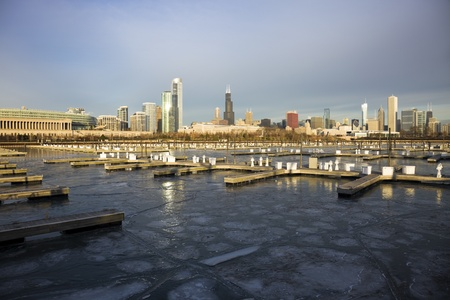 Winter morning in Chicago, Illinois photo