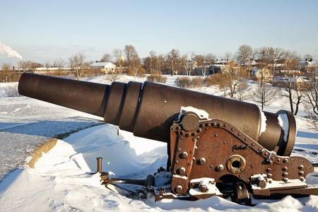 Cannon protecting Suomenlinna Sea Fortress. Helsinki, Finland. Zdjęcie Seryjne