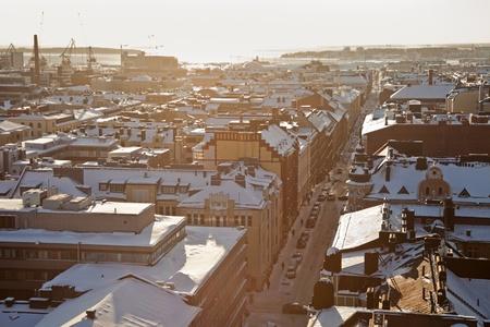 helsinki: Winter panorama of Helsinki - looking towards setting sun