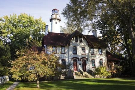 suburbs: Evanston Lighthouse. Suburbs of Chicago.
