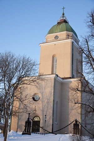 Suomenlinna Church in the middle of winter