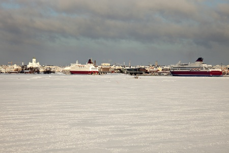 Harbour in Helsinki, Finland from frozen Baltic Sea Stok Fotoğraf