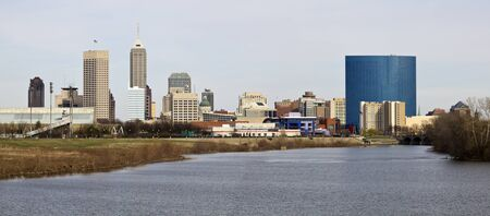Panoramic Indianapolis - distant view accross the river photo