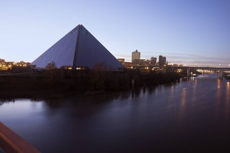 Morning in Memphis. Downtown seen from the bridge on Mississippi River. Stock Photo