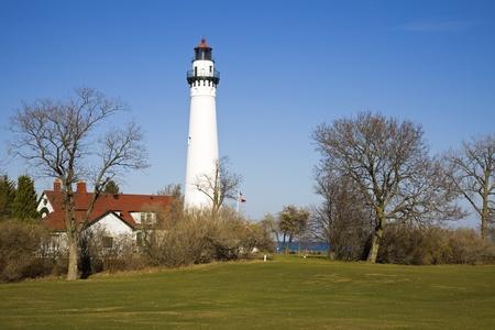 Wind Point Lighthouse - Racine, Wisconsin, USA Stok Fotoğraf