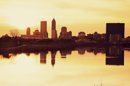 Indianapolis at sunrise - downtown seen accross the river