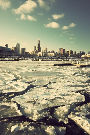 Winter in Chicago - downtown seen from marina photo