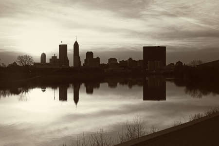 distant: Black and White panorama of Indianapolis. Seen accross the river.