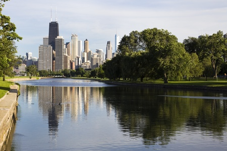 Downtown Chicago - summer view from Lincoln Park photo