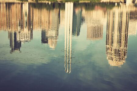 mississippi river: Minneapolis, Minnesota reflected in Mississippi River Stock Photo