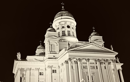 B&W of Lutheran Cathedral in downtown of Helsinki